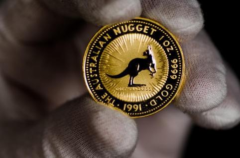 This Australia Kangaroo Gold Coin was shot on a black background and held with a white glove.